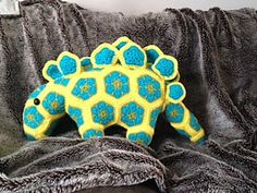 Spike the stegosaurus African Flower Dinosaur Crochet Pattern - £3.50 by Nicola Green- Especially4ewe