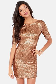Bronze Sequin Party Dress #holiday