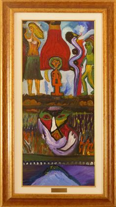 Eine Malerei des italienischen Art-Brut-Malers Ugo Mainetti, *1945, der ursprünglich Metzger war. Metzger, Art Brut, Girl Model, Painting, Italy, Painting Art, Pictures, Paintings, Painted Canvas