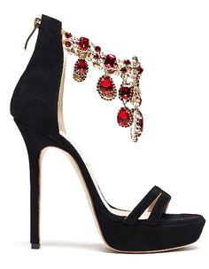 Wow!~ crystal black high Christian louboutin shoes
