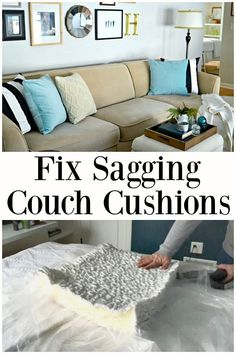 Fix Sagging Couch Cushions - easily fix your sagging couch cushions with this quick tip. #diy #couch #sofa #couchcushions