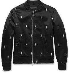 Neil Barrett embroidered lightening bolt bomber jacket