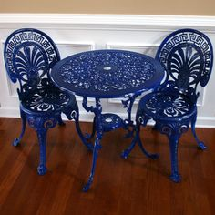 etsy: Chinoiserie Blue Vintage Patio Table and Chairs. Garden Furniture. Sun room. Regal Federal Blue. Peacock Fan Back. Greek Key. Nautical.