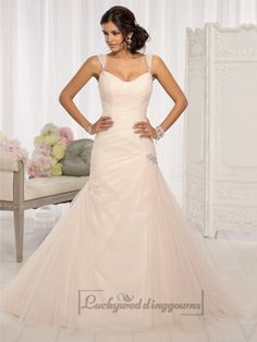 Straps Fit and Flare Sweetheart Vintage Wedding Dresses