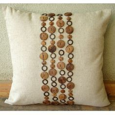 Wood Space 18x18 - Throw Pillow Covers - 18x18 Inches Linen Pillow Cover with Wooden Beads