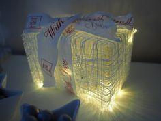 Kalastajanlangasta tehty valolaatikko, sisällä patterivalot! Christmas lights