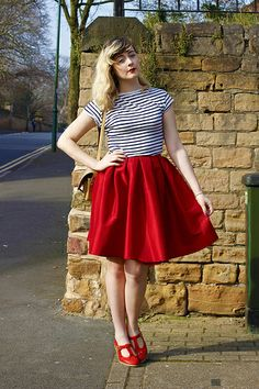 50s style flared skirt and stripes