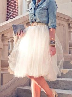 Juxtaposition of denim and Tulle skirt