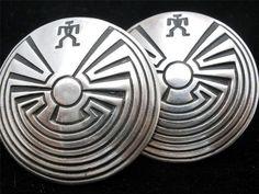 Vintage Sterling Silver Earrings Man in The Maze Southwestern Large Pierced Post | eBay