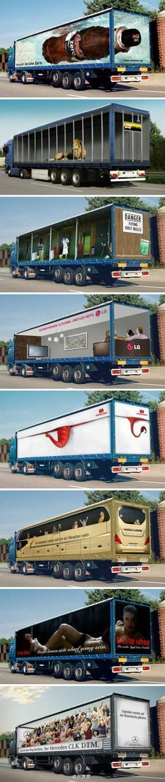 Trucks with advertising