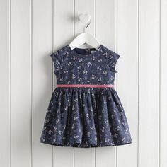 Ellie Floral Pleat Waist Dress - Navy AW 2015 http://www.parentideal.co.uk/the-white-company---baby-girls-clothing.html