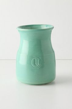 I love cream and turquoise for a kitchen color scheme. Appellation Utensil Jar #anthropologie