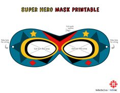 superhero mask template Make your own super awesome superhero mask! Superhero Mask Template, Superhero Kids, How To Make Paper, Mask For Kids, Make Your Own, Little Ones, Halloween Party, Fun Facts, Printables