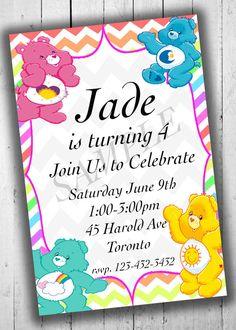 Care Bears Birthday Party Invitation Kids by PartyPrintableInvite Care Bear Birthday, 5th Birthday, Birthday Parties, Birthday Ideas, Bear Decor, Birthday Invitations Kids, Care Bears, Party Printables, First Birthdays