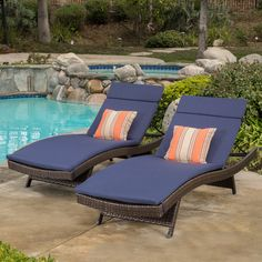 The colored lounge cushion set is a versatile and fun solution for your outdoor lounging needs. These cushions are made with a waterproof fabric and has ties on either side to secure down to your lounge.