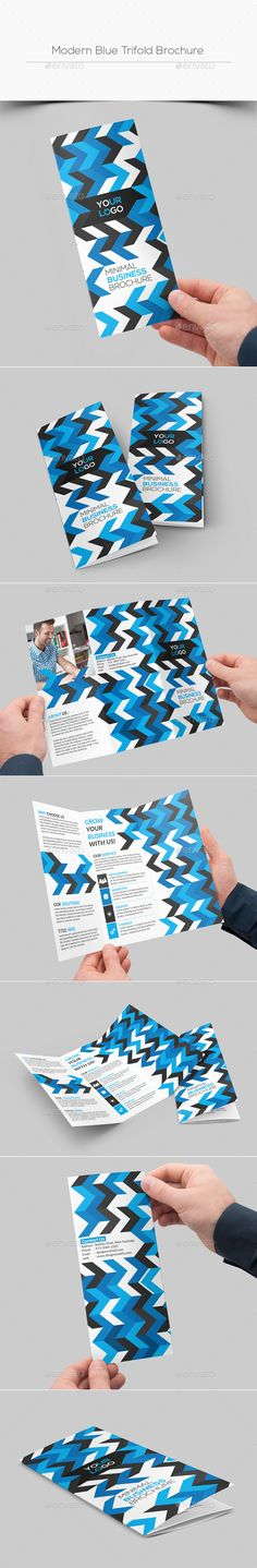 Modern Blue Trifold Brochure  — PSD Template • Only available here ➝…