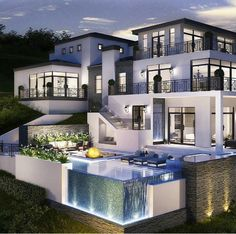 40 Stunning Mansions Luxury Exterior Design Ideas So far, we have sh. - 40 Stunning Mansions Luxury Exterior Design Ideas So far, we have shown you exterior de - Dream Mansion, White Mansion, Dream House Exterior, House Goals, Life Goals, Modern House Design, Glass House Design, Design Your Dream House, Home Fashion