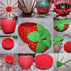 diy-woven-strawberry-shaped-basket-from-recycled-newspaper