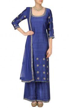 Surendri by Yogesh Chaudhary Ink Blue Foil Dot Work Kurta Set #happyshopping#shopnow#ppus