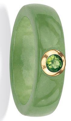 Angelina D'Andrea 10k Gold Green Jade and Peridot Ring ♥✤ | Keep the Glamour…