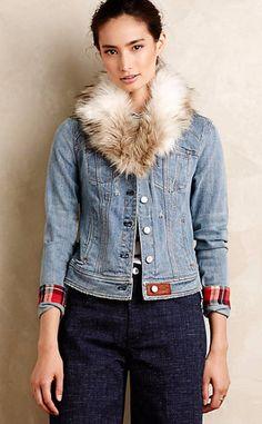 Pilcro Faux-Fur Denim Jacket #anthrofave