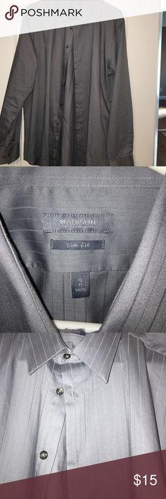 Madison men's shirt Madison slim fit men's shirt. Gray size XL 17 34/35 Madison Shirts Dress Shirts