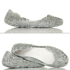 Srebrne Kobiece Kwiatowe Meliski - www.BUU.pl #shoes #women