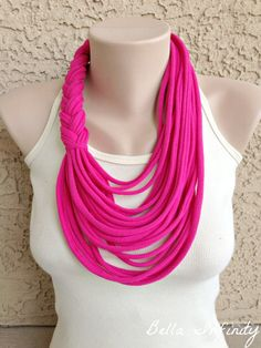 Bella Infinity Braided Scarf Up-Cycled Jersey Fabric Pink Neon Colorful Boho Chic Fun Design