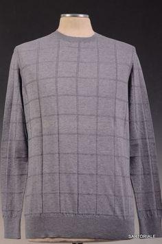 KITON Napoli Gray Cotton-Cashmere Crewneck Sweater NEW