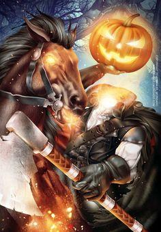 headless horseman for halloween Halloween Outside, Holidays Halloween, Spooky Halloween, Happy Halloween, Halloween Ideas, Sleepy Hollow Headless Horseman, Monster Pictures, Legend Of Sleepy Hollow, Autumn Scenes