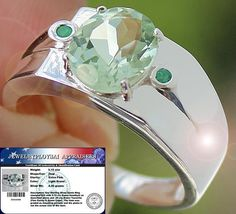 Beautiful 3.15 cts Green Amethyst & Tsavorite Ring 100% SOLID 925SS S#10 NR #JPS #Cocktail