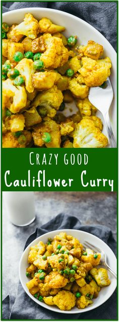 Golden cauliflower curry with potatoes - Cauliflower curry with potatoes is one of my favorite SPICY dry curry meals: it's a fast and easy one-pan/one-pot <30-minute dinner with delicious Indian-inspired flavors. What's more, it's also vegan and gluten-free! - savorytooth.com via @savory_tooth