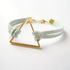 Pastel Mint Green Suede Bracelet with Gold Triangle Dainty Bracelets, Bangles, Escape, Suede Bracelet, Pastel Mint, Turquoise, Green Suede, Diy Jewelry, Jewellery