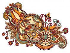 art ornate flower design. Ukrainian traditional style Stock Photo