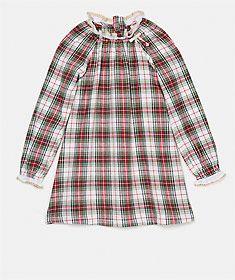 Vestido de xadrez em algodão com detalhes de renda e laço de lurex