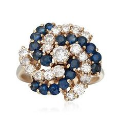 Ross-Simons - C. 1980 Vintage 1.65 ct. t.w. Sapphire and 1.10 ct. t.w. Diamond Cluster Ring in 14kt Yellow Gold. Size 6 - #817566