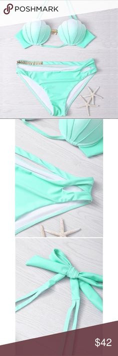 LAST ONE🐠Mint Green Ombre Sexy Shell Bikini Set🐠 Super cute, sexy, and fun mint green ombre shell bikini set! Mint green ombre colored, shell cup, gold bar in front with diamanté detail, gold and diamanté detail on side of bikini bottom, clasp closure in back, halter straps so you can wear with them or without, padded shell with nice support. Never been worn, brand new in package. This suit is adorable and so comfortable! Perfect for spring and summer!🌺☀️🌴🐠 Boutique Swim Bikinis