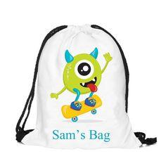 Personalized boys drawstring bag, Personalised drawstring backpack, kit bag, swimming bag, school bag by cjcprint on Etsy