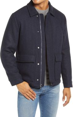Bomber Coat, Herringbone, Wool Blend, Men Sweater, Handsome, Nordstrom, Navy, Jacket Style, Men's Clothing