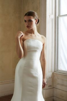 Beckwith Style Allison Webb bridal gown - Ivory blended dupioni fit to flare gown, crescent neckline with detachable watteau train. Bridal Gowns, Wedding Dresses, Flare, Ivory, Neckline, Train, Spring, Fit, Modern