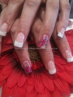 White acrylic tips with one stroke nail art