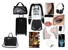 """""""Untitled #113"""" by smacnicolllimelight on Polyvore featuring Beats by Dr. Dre, Topshop, Lime Crime, Hot Topic, Apple, Madewell, Recover, NIKE and Tumi"""