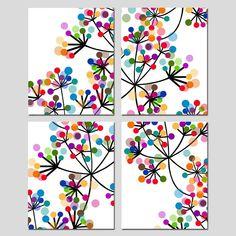 Modern Colorful Botanical Art Ensemble de quatre estampes ou | Etsy