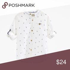Zara white summer shirt Size 6 worn once , giraffe detail, can be worn long sleeve or short Zara Shirts & Tops Button Down Shirts
