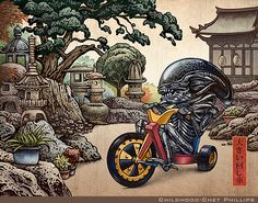 Big Wheel is a signed print from an illustration by Chet Phillips depicting the Alien riding a Big Wheel toy tricycle in a Japanese styled print. Giger Alien, Hr Giger, Aliens Movie, Matchbox Art, Turning Japanese, Alien Vs Predator, Japanese Characters, Xenomorph, Big Wheel