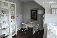 Love the gray, white, and lavender in this room. Plus the rug is amazing!