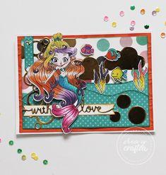Esta preciosa y multicolor sirena pertenece a la nueva colección que estamos preparando de seres mágicos. En este caso para compensar la multitud de color del personaje, se han añadido los mismos colores en el resto de elementos. Todo ha sido rematado con mucho brillo y purpurina. Cardmaking, Mermaid, Scrapbook, Crafts, Glitter, Character, Mermaids, Jitter Glitter, Colors