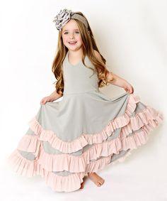 Loving this Gray & Light Pink Ruffle Tiered A-Line Dress - Toddler & Girls on #zulily! #zulilyfinds