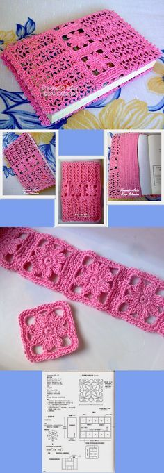 Tecendo Artes em Crochet: Capas para agendas e Cadernos - Capa para Agenda Rosa
