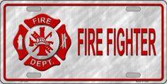 Firefighter Metal Novelty License Plate